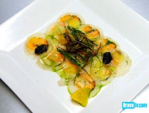 stefan-smoked-salmon-halibut-carpaccio-with-micro-greens-julienned-baby-fennel-caviar-and-citrus-vinaigrette-olive-oil